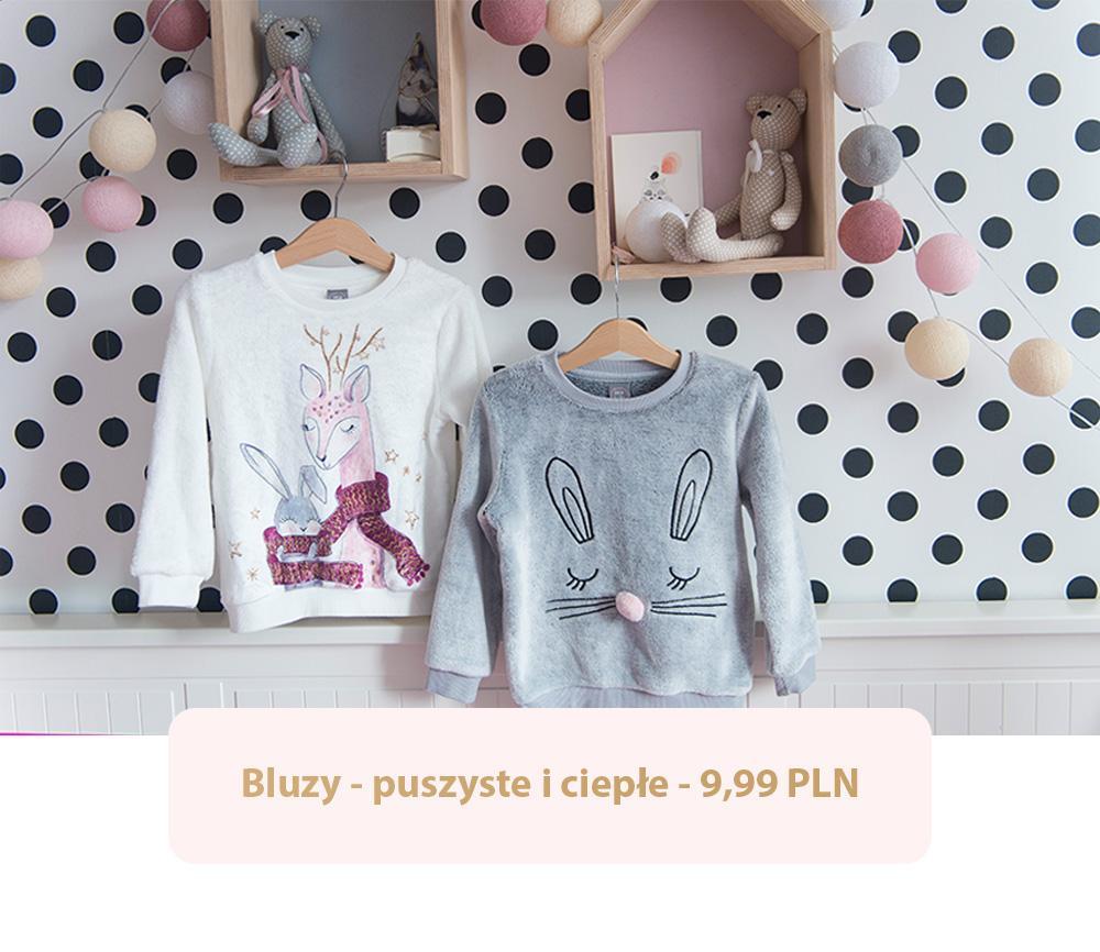 Miękkie, jesienne bluzy z Pepco dla dziewczynki - szara z króliczkiem i biała z jelonkami.