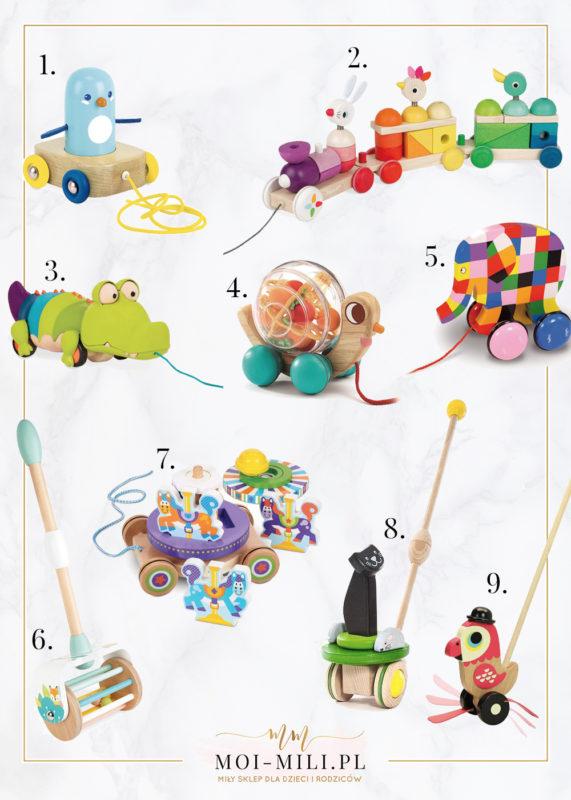 Zabawki do pchania i ciągnięcia to świetny pomysł na prezent dla niemowlaka.