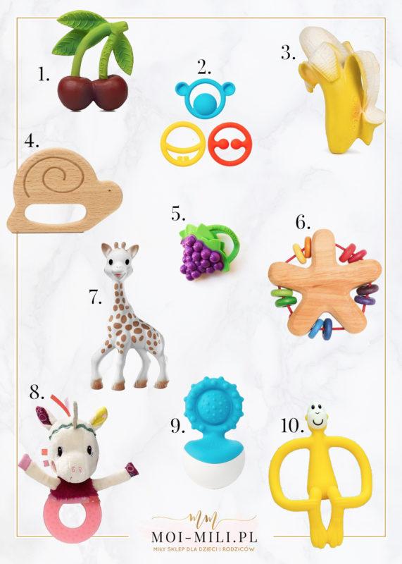 Kiedy rosną ząbki, niemowlęciu potrzebny jest gryzak - można je znaleźć w wielu zabawnych kształtach i kolorach.