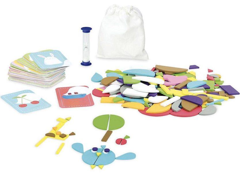 Jedna z ulubionych propozycji gry dla 3 latków - zbuduj z kolorowych kształtów hasło, jakie wylosujesz na karcie.