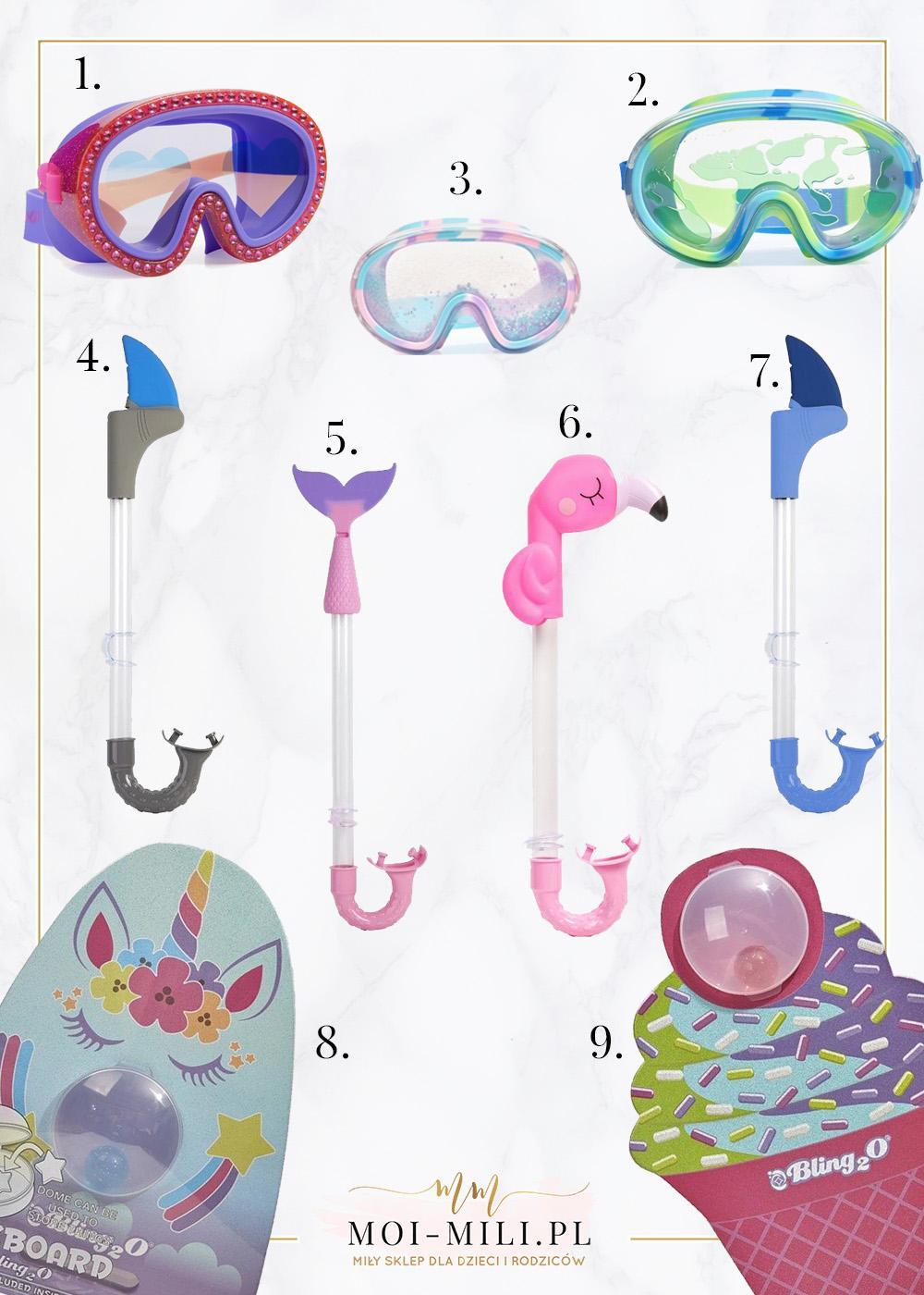 Maski, fajki i deski do pływania, które wyglądają jak piękne, kolorowe zabawki do wody. Aż chce się zanurkować!