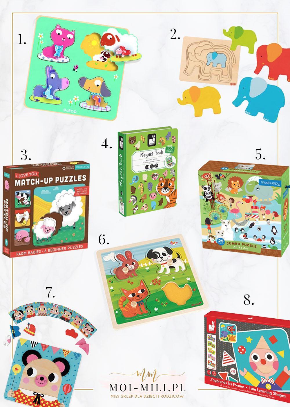 Układanki i puzzle to świetny prezent dla 2 latka.